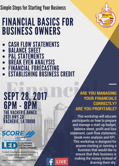 SCORE ST JAMES FINANCIAL BASICS FOR BUSINESS OWNERS